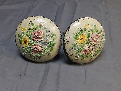 Pair Antique Cast Iron Self Taping Floral Curtain Tie Back Anchors Vtg 1514-16