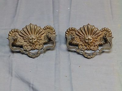 Pr Antique Brass Cabinet Dresser Drawer  Pulls Lions Face Vtg Hardware 1516-16