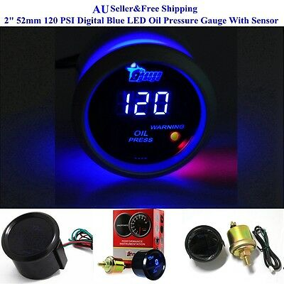 "2"" 52mm 120 PSI Digital Blue LED Oil Pressure Gauge With Sensor Auto Car Motor"