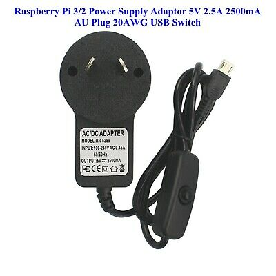 AU plug 5V/2.5A Pi Power Charger Adapter+Cable With Switch for Raspberry Pi 3/2B
