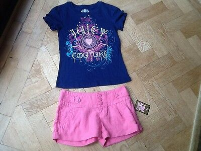 NWT Juicy Couture New & Gen. Girls Age 8 Pink Cotton Shorts & T-Shirt & Logo