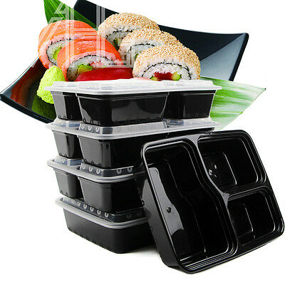 20x Microwave & Dishwasher Safe Compartment Meal Prep Plastic Food Containers