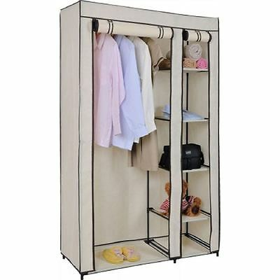 Double Canvas Cream Wardrobe With Hanging Rail Shelves Storage Furniture