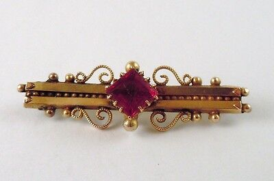100% Genuine Antique 9K Solid Yellow Gold Brooch with a large red stone