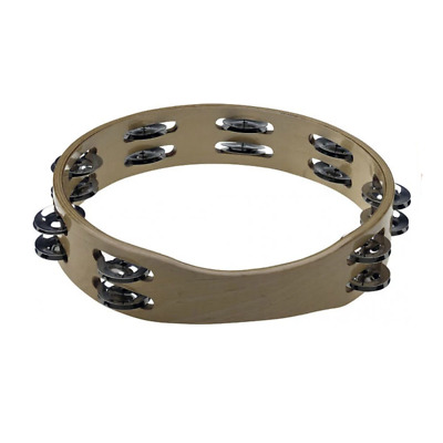 "Stagg 10"" Headless Wooden Tambourine - 2 Row of Jingles"