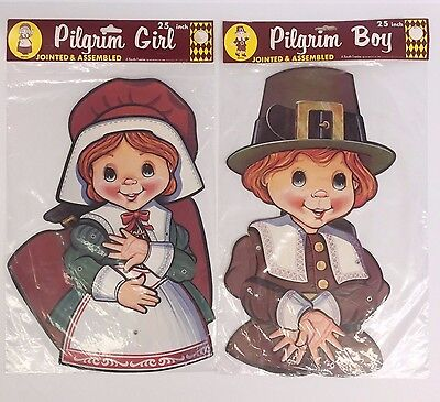 Vintage 1986 Beistle Pilgrim Girl and Boy Thanksgiving Jointed Decorations NOS