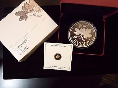 2012 Canadian 5oz Proof 1-Cent 'Farewell to the Penny' .9999 Fine Silver   ECC&C