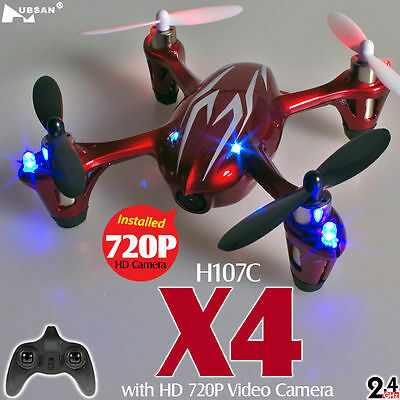 Hubsan X4 Camera Drone H107C HD Version 2MP RC Quadcopter RTF+ SD Card RED NEW