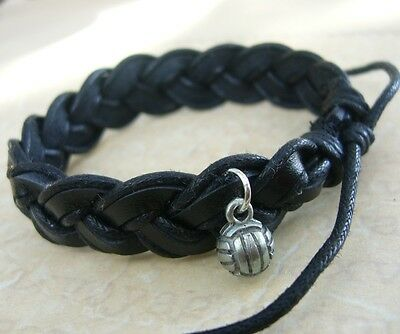 Black Leather & Cord Surf Style Bracelet You Choose Charm FREE Aust SHIPPING