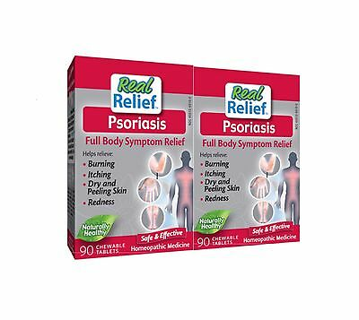 2 Pack - Homeolab USA - Real Relief Psoriasis - 90 Chewable Tablets - Exp 02/18