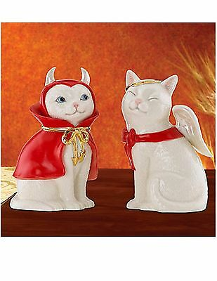 Lenox Cat Angel and Devil Salt and Pepper  Shakers New in sealed box.