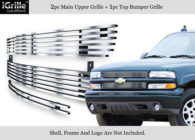 Fits 99-02 Silverado 1500/00-06 Tahoe/Suburban 304 Stainless Billet Grille Combo