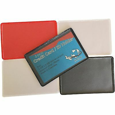 10 ID CREDIT BUSINESS CARD SINGLE COVER HOLDER PROTECTOR Clear Black Blue Red