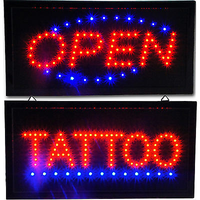 """Bright Tattoo Parlor Studio & Open LED Shop Store Business Sign neon 19x10"""""""