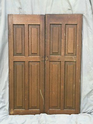 Pair Antique Cabinet Pantry Door Oak Kitchen Vintage Chic Old 1529-16