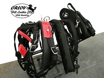 Cob Drawn Driving Parade Event Show Horse Cart Heavy Duty Nylon Red Harness Set