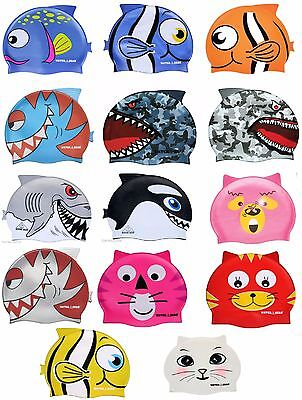 CRITTER Learn to Swim Cap Animals Silicone Kids Swimming Fish Cat Bear 39700