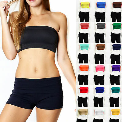 Tube Top Bra Seamless Bandeau Strapless Stretch Solid (One Size S/M/L)