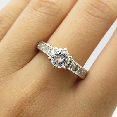 Vintage Sterling Silver Sparkling Simulated Diamond Engagement Signed Ring