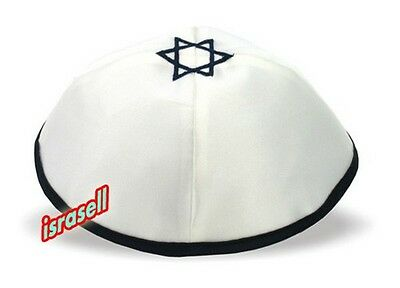 White Kippah with Dark Blue Star of David from Israel