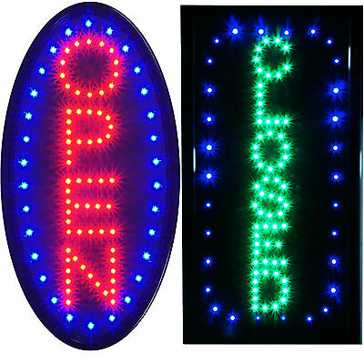Bright Animated LED Vertical Oval Open Business & Closed Store Shop Sign neon
