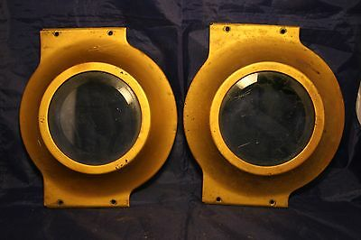 Antique Matching Pair Nautical Portholes Submarine Ship Navy Gold Tone Early-37T