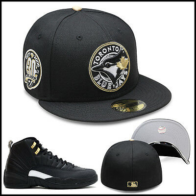 e35a6049219 New Era Toronto Blue Jays Fitted Hat BLACK CIRCLED GOLD For Jordan 4 Royalty