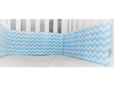 Gooseberry Baby Cot Crib Bumper Cotton Blue & White Chevron 210 x 30 cm