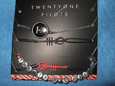 21 Twenty one pilots Music Band Symbols Logo 4 Pc Bracelet Wristband Set jewelry