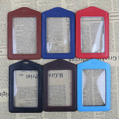 Pu Leather ID Badge Case Clear with Color Border & Lanyard Holes Card Holders 1x