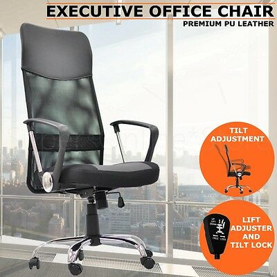 New Executive High Back Mesh Computer Office Chair PU Leather Black