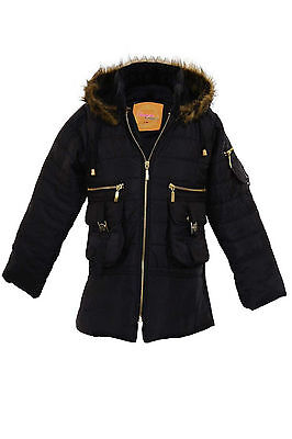 Girls Faux Fur Hooded Padded Quilted Zip Children's Parka Black Coat Jacket 7-13