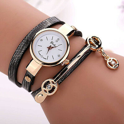 Women Gold Quartz Gift Watch Wristwatch Dress Leather Casual Bracelet Watches