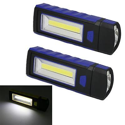 2PC COB LED USB Rechargeable Inspection Light Magnetic Stand Hook Work GV