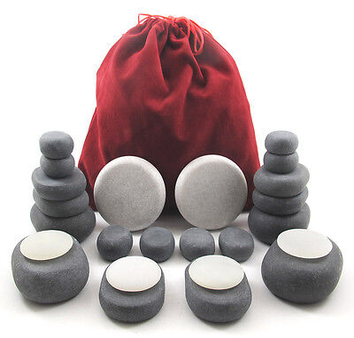 24-PIECE HOT/COLD STONE MASSAGE SET: 18 Basalt & 6 Marble/Onyx Marble Stones