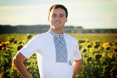 Ukrainian Embroidered Mens T-Shirt from Ukraine, sorochka, vyshyvanka,  Size M