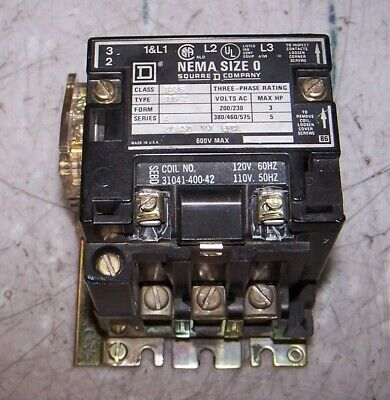 Square D Size 0 Contactor 120 Vac Coil 600 Vac 5 Hp 3 Phase 8536Sbg2