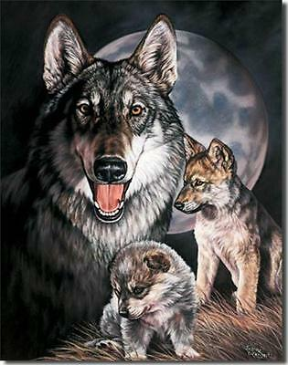 Wolf Experience Wolves Momma & Puppies Tin Metal Sign New Graham
