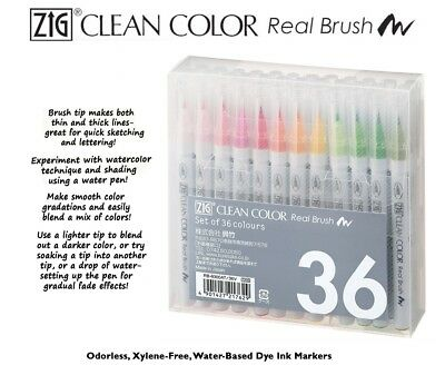 ZIG Kuretake Clean Color Real Brush Watercolour Pens (Set Of 36)