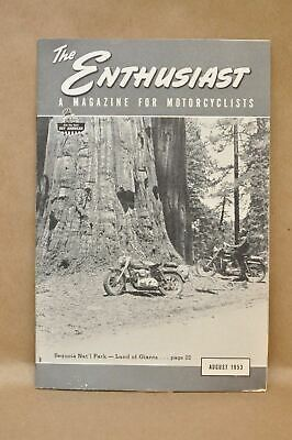 Vtg Harley Davidson Enthusiast Magazine August 1953 Racing Dodge City Sequoia