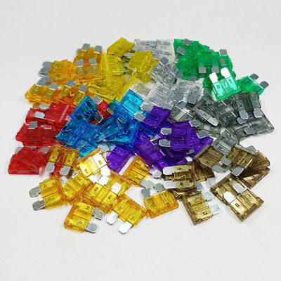 100 Pcs Standard Blade Fuse Kit Mixed 3a 5a 7.5a 10a 15a 20a 25a 30a 40a ATO Car