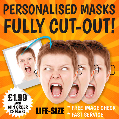 PERSONALISED FACE MASKS - Life-size STAG DO HEN NIGHT PARTY Wedding PHOTO sash