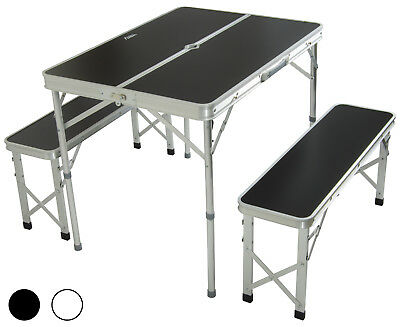 Andes Aluminium Folding Portable Camping/Picnic Outdoor Table & Stool Chair Set