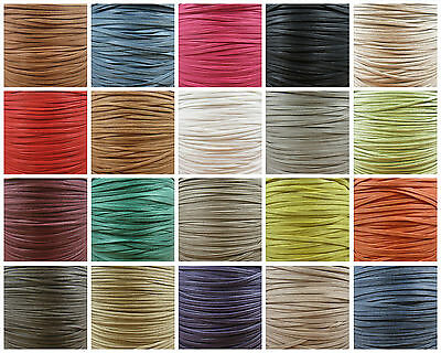 FLAT 2mm 3mm 4mm WAXED COTTON CORD *23 COLOURS* JEWELLERY MAKING STRINGING