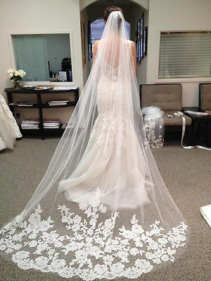 White Cathedral Length Lace Edge Bride Wedding Bridal Veil + Comb ~ 1 Layer