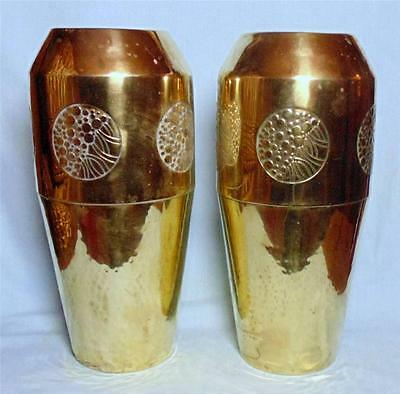 Pair Of Large Brass Vases Art Nouveau Sessionist Style By Wmf Number 92