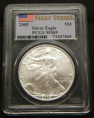 2005~~First Strike~~Pcgs  Ms69-American Silver Eagle~~Better Date~~Flag Label