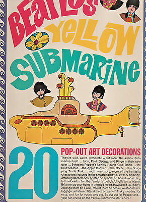 """**Vintage 1968 """"The Beatles Yellow Submarine"""" Pop Out Decorations Book"""