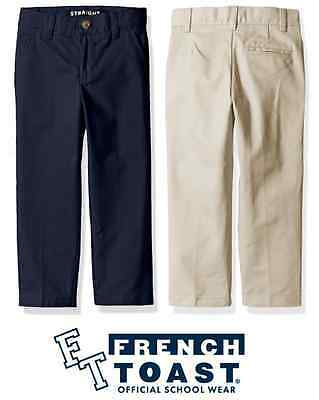 NEW French Toast Boy's Adjustable Waist Double Knee Twill Flat Front Pant