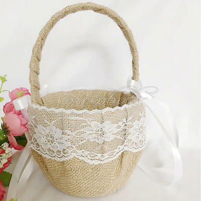 Vintage Retro Wedding Burlap Hessian Lace Ribbon Bow Flower Girl Basket Supplies